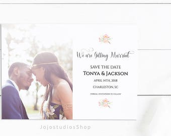 Save the Date Template, Printable Save the Date, Printable Wedding Invitation Calligraphy Template, Custom Wedding Invitation, sd003