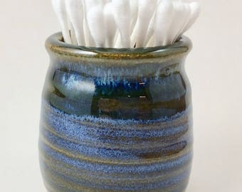 Q-tip Holder, Pottery Q-Tip Holder, Blue Q-Tip Holder, Ceramic Q-Tip Holder, Q-Tip Dispenser, Blue Q-Tip Dispenser, Bathroom Pottery