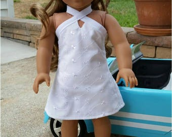 RESERVED CHANDLER Summer Halter Dress made to fit the 18 inch dolls, American, Girl, Doll Dress, White Eyelet,