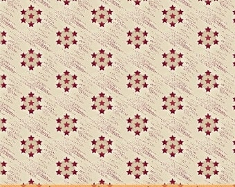 Windham Freedom Bound Cream Red Star Circle Background American Vintage Patriotic Civil War 41977-2 Fabric BTY