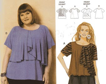 FRONT OVERLAY TOPS Butterick Connie Crawford Pattern 6396 Women's Sizes Xxl 1X 2X 3X 4X 5X 6X