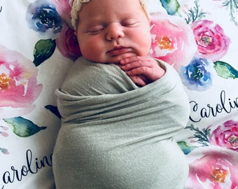 Personalized baby name swaddle blanket set: baby and toddler personalized name newborn hospital gift baby shower gift