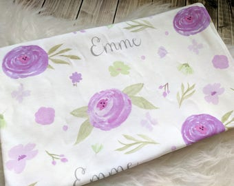 Personalized purple baby watercolor swaddle blanket: baby and toddler personalized name newborn hospital gift baby shower gift