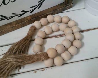 natural wood bead garland with jute tassles (25mm), Home jewelery, Farmhouse bead garland, house beads, wood bead accent, (single sz bead)