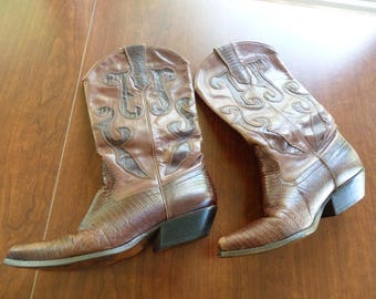 Leather Cowboy Boots, Stacked Heel Boots, Cowgirl boots,Leather boots,Boots,Western Boots, Vintage Boots, Brown Leather boots, dance boots