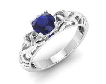 Blue Sapphire Engagement Ring, 14K White Gold, Wedding Ring, Anniversary Ring, Solitaire Engagement Ring, Promise Ring, Blue Sapphire Ring