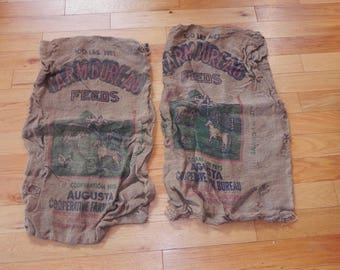 Burlap Feed Sacks - Farm Bureau Feeds 100 Pounds Net 2'x3'