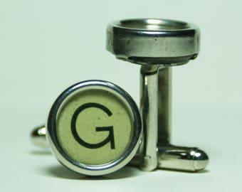 """Antique Typewriter Key Cufflinks """"G"""" Key FREE Gift Bag"""