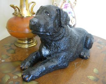 50% Off Black Painted Dog Figurine  Paint Palace Plaster Chalkware Style