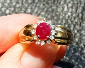 Natural Ruby Ring Diamond Halo Vintage 14K Gold Engagement