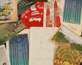 Lot of Vintage Paper Ephemera. Vintage Postcards, Anniversary Cards, Invitations and Christmas Cards.