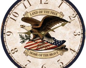 Patriotic Clock- Personalized Patriotic Clock- Eagle Wall Clock