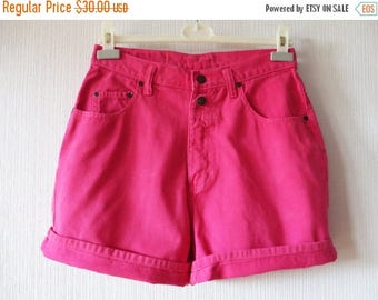 CIJ SALE Vintage 80s 90s High Waist Shorts Fuchsia Pink Shorts Pink Denim Shorts Summer Bright Hipster Shorts Grunge Medium Size Shorts