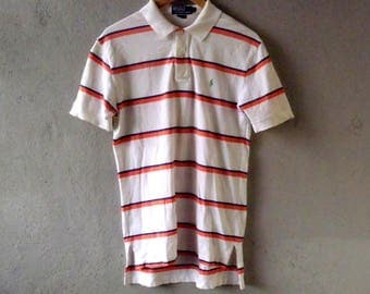 Vintage 90s T-shirt POLO by RALPH LAUREN Striped Short Sleeve 100%Cotton