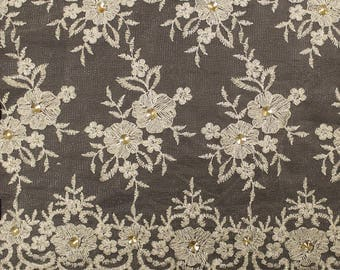 Light Gold Embroidery Flowers with Rhine stones on a Mesh Lace Fabric by the Yard-Style- 2882