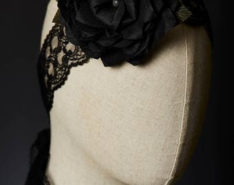 Headband Necklace Belt Bracelet Mystique Black Lace Dupioni Silk Rose Handmade