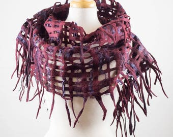 Felted Scarf Grid, hand dyed, silk and wool, burgundy, purple, Lace, Hole, lattice scarf, felt