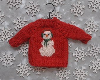 Snowman with Earmuffs Hand-Knit Sweater Ornament