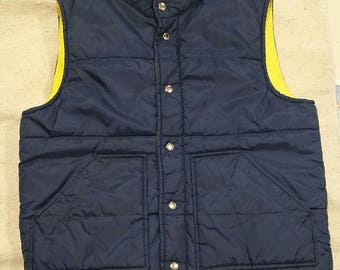 Vintage quilted vest,navy blue, M 39 to 41