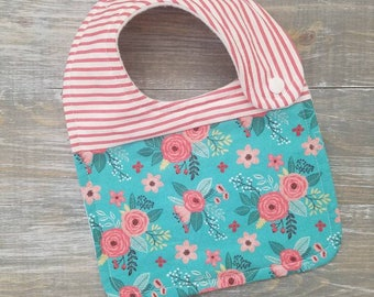 NEW: Infant Drool Bib- Aqua Floral