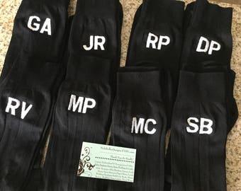 Men's Custom Plain Navy or Black Dress Monogrammed Socks Custom Embroidered Mens Socks Inintials on Wedding party Socks groom Size 6-12