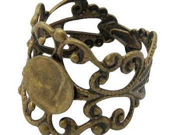 ANTIQUE BRONZE 1 x filigree Adjustable ring finding
