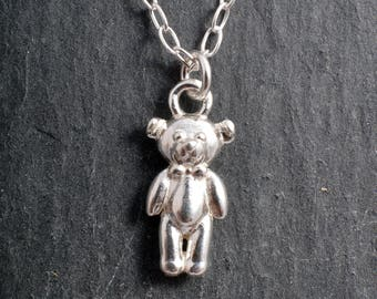 Silver teddy bear charm necklace sterling silver necklace pendant charm silver bear