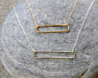Hammered Open Bar Necklace, Sterling Silver, Gold Fill, Layering Necklace, Bar Necklace, Gold bar Necklace, Silver bar necklace