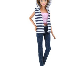 E-TING Fashion Print Blouse Jeans Trousers Clothes Accessories For Barbie Doll