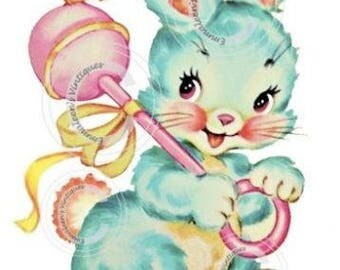 Vintage Nursery Baby Bunny With Rattle Waterslide Decals - AN643