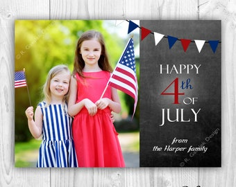 Happy Fourth Greeting Card | Happy 4th of July | Patriotic Photo Card | Independence Day | Red White and Blue | Digital Printable File