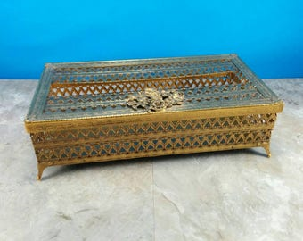 Vintage Hollywood Regency Footed Gold Tissue Box Holder with Rose Motif - Removable Lid - Retro Bathroom