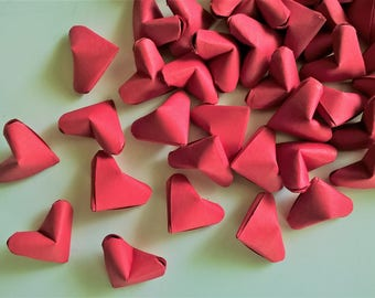 50 Red origami hearts