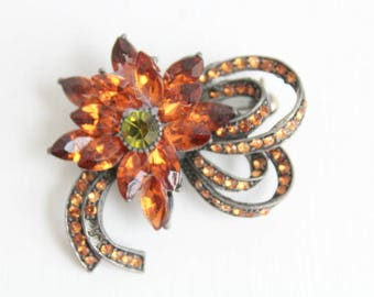 Orange Brooch, Orange Pin, Brown Brooch, Brown Pin, Orange Flower Brooch, Orange Flower Pin, Orange Rhinestone Brooch, Orange Rhinestone Pin