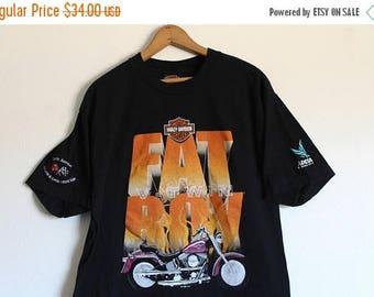 ON SALE LARGE Vintage Harley-Davidson Fat Boy Graphic T-Shirt