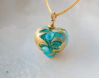 Murano Reversible Blue Heart Necklace