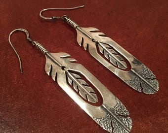 Sterling Silver Native American Eagle Feather Earrings