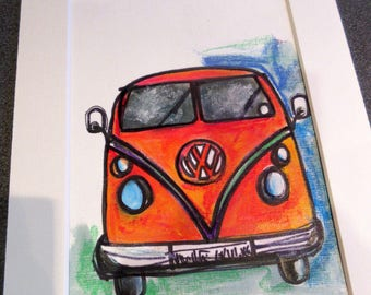 VW Camper .An original watercolour/pen and apstel painting by Suzanne Patterson