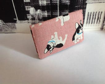 Boston terrier fabric, puppies print cards holder,  Dog lover, linen credit card holder, fabric card holder, card case, card wallet, gift