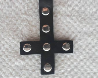 Black Leather Inverted Cross Crucifix Pendant