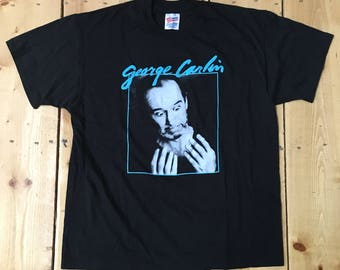 Vintage 1980s Comedian George Carlin Brain Damage Black T Shirt - XL