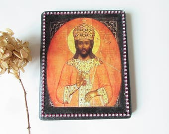 Sale Icon Jesus Christ King of Kings Bysantine Icon Reproduction  Wood 5 X 6 1/2 Home Bleesings Icon Religious Spiritual Gift from Canada