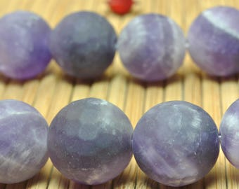 32 pcs of Natural Amethyst matte round beads in 12mm