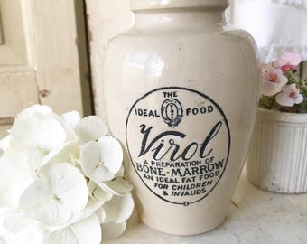 A lovely large antique Virol Advertising stoneware croc jar