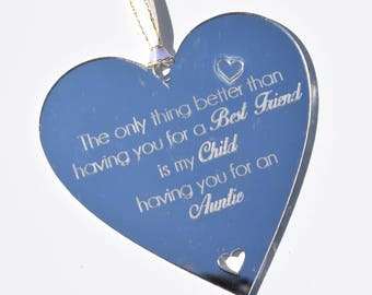 Best Friend Auntie Child Quote on Heart Gift Hanging Decoration Shabby Chic