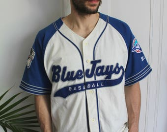 Vintage 90s well worn Toronto Blue Jays baseball jersey with old school logo, large, AS IS