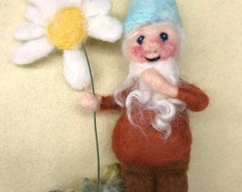 Petal Plucking Gnome - needle felted forest gnome with daisy