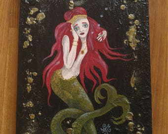 Grief. Red haired mermaid hand painted using acrylics on recycled wood board
