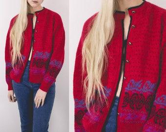 Vintage Sweater, Grunge Sweater, Cozy Sweater, Boho Sweater, Cable Knit Sweater, Chunky Sweater, Oversized Sweater Cardigan Vintage Clothing