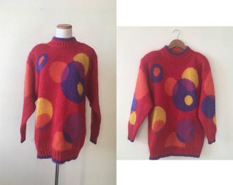 vintage 80's/90's RED CIRCLE SWEATER - small, medium